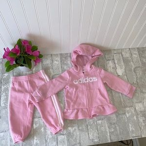 Pink adidas baby girl track suit